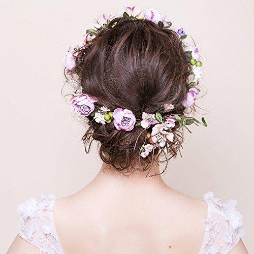 OKBO Mujer/Niña Diadema Corona Flores para Cabello Garland Halo Accesorios Artificiales de Seda de hilo de Decoradas con Flores Adultos o Niños(Púrpura)