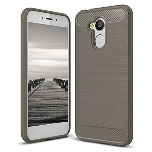 MYCASE Schutzhülle Handy Hülle für Huawei Honor 6A | GRAU | Carbonfibre Cover Handyhülle | TPU Silikon Weich Tasche | Armor Schutz Hülle Leicht