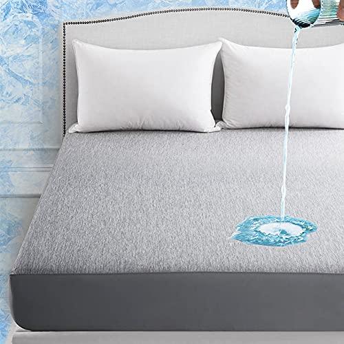 Elegear Revolutionary Cooling Mattress Protector Queen, Cooling Mattress Cover Arc-Chill Cooling Fiber Mattress Encasement Deep Pocket Cooling Bed Sheet Fitted Mattress Pad Up to 18'