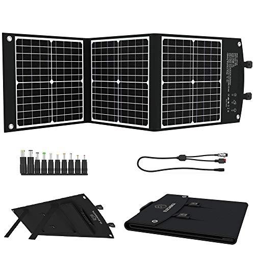 Cargador Solar Portátil 60W, 3 ETFE Paneles Solares Impermeables con USB Tipo C PD18W QC3.0 DC 18V para Camping, Ordenadores, Tablet, iPhone, Android, GoPro, etc.