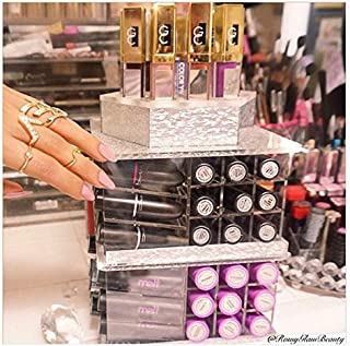 ZAHRA BEAUTY Store Spinning Lipstick Towers- Acrylic Lipstick Holders are Available.Patent Pending (Silver Dream)