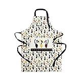 Küchenschürze für Frauen Damen Katzenmotiv Kochschürze Baumwolle mit Taschen zum Kochen, Katze Geschenk für Katzenliebhaber - 2