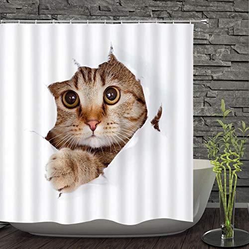 Vlejoy Wohnaccessoires Duschvorhang Polyester Katze Tier Hotel Bad Trennwand Wasserdicht Und Bakteriostatisch Frei Stanzen Antihaft-180 * 200cm