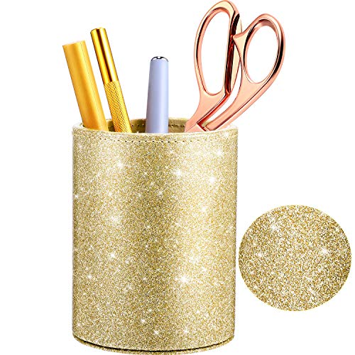PU Glitter Pen Holder Pencil Cup Shiny for Women Girls, Luxury Makeup Brush Holder Pu Leather Organizer Cup Gift for Desk Office Classroom Home (Champaign Gold)