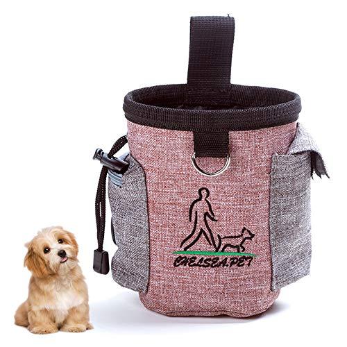 Elehui Borsa Addestramento Cane Snack Borsa Sacchetto di Allenamento per Cani Borsa per Il Cibo per Cani Animali Multifunzionale Snack per Addestramento del Cane Viaggio All'Aperto (Rosa)