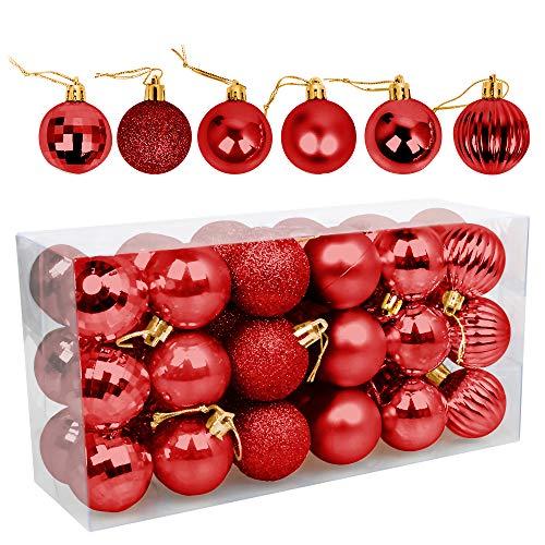 Palle di Natale 4cm, Speyang Palline Dell'Albero di Natale, Addobbi Natalizi Palline per Albero, Set Palla di Natale, Albero di Natale Palla Decorazioni con Albero Natale Scintillante—36 Pezzi (Rosso)