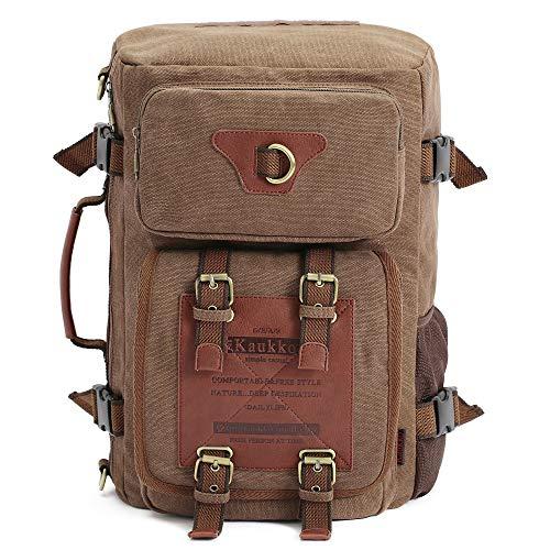KAUKKO Outdoor Travel Men Backpack Hiking Camping Canvas Rucksack (Canvas Khaki)