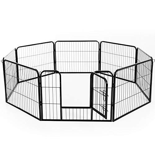 PawHut Recinto Recinzione box per Animali Cani Gatti Cuccioli Roditori Rete Gabbia di Ferro per Esterno Giardino 80x60cm 8pz