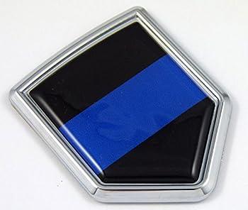 Car Chrome Decals CBSH299BL Police Thin Blue Line Flag Chrome Emblem Car Decal Sticker Bike Crest Badge