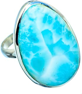 Large Larimar Ring Size 12 (925 Sterling Silver) - Handmade Boho Vintage Jewelry RING955667