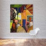 Davide Alisa Leinwand -Gemälde Expressionismus Leinwand Kunstgemälde Die Außenseite Landschaft Moderne Wandbilder für Wohnzimmer Heim Decor60cm * 90cm,Rahmen