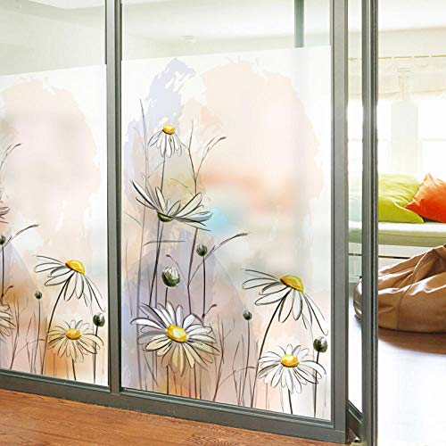 Wand - Aufkleber - Mattglas - Aufkleber Sonnenschutzglas - Tür - Fenster Film Dämmerung Wald-Little Daisies_80cm * 120cm