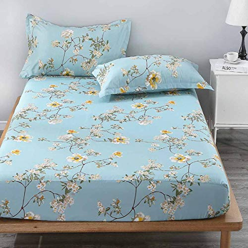 NANKO Queen Fitted Sheet 80x60 Deep Pocket Mattress Teal Floral Farmhouse Best Luxury Cool Soft Lightweight Microfiber Bedding Set 2 Pillowcases 10 11 12 14 15 16 inch Green White Flower