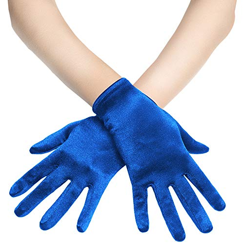 "BABEYOND Short Opera Satin Gloves Wedding Evening Gloves Special Occasion Gloves Wrist Length Tea Party Gloves 8.7"" Stretchy Gloves (Blue)"