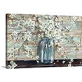 Blossoms in Mason Jar Canvas Wall Art Print, 48'x32'x1.25'