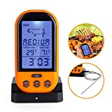 Wireless Meat Thermometer, BBQ Grill Waterproof Digital Cooking Food Thermometer Smart Remote Meat