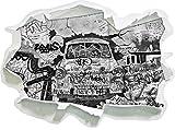 Stil.Zeit Monocrome, Trabant durch die Wand, Trabi DDR Kult Papier im 3D-Look, Wand- oder Türaufkleber Format: 92x62cm, Wandsticker, Wandtattoo, Wanddekoration