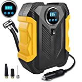 Tire Inflator Pump, Electric Portable Tire Inflator Compressor,Tire Pump Air Compressor with LED Screen, LED Lights and Long Cable for Car, Motorcycles, Balls, Bicycles, DC-12V 150PSI