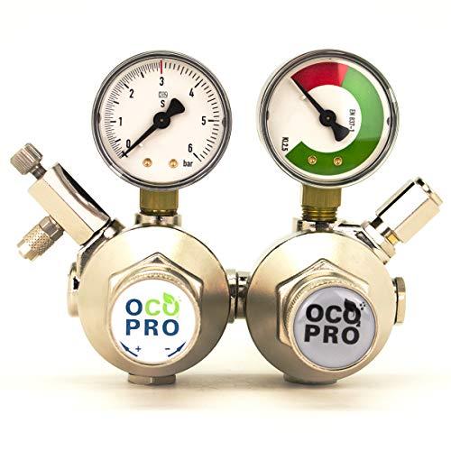OCOPRO CO2-Druckminderer Doppelkammer mit Nadelventil/Drossel und Rückschlagventil