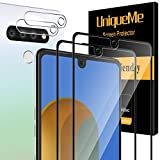 [ 4 Pack ] UniqueMe 2 Pack Screen Protector + 2 Pack Camera Lens Protector Tempered Glass for LG Stylo 6,[Full Coverage] Edge to Edge Protection [Case Friendly] -Black