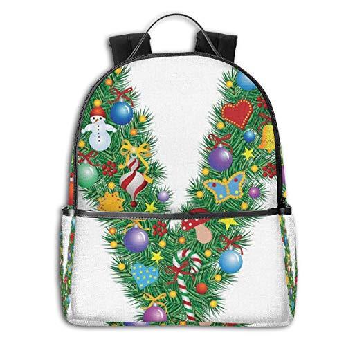 Rucksäcke Taschen Daypacks Wanderrucksäcke, College Backpacks for Women Girls,Ornament Christmas Tree Design Capitalized V Festive Elements Bells Candies Print,Casual Hiking Travel Daypack