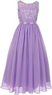 d443db54d634 Cinderella Couture Little Girls Lilac Satin Sash 3D Lace Chiffon Stylish Flower  Girl Dress 4-