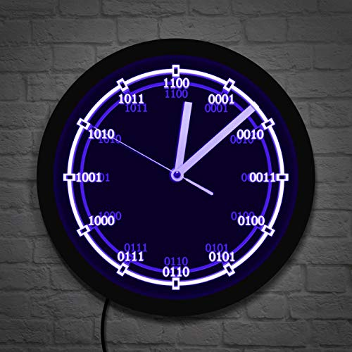 KEC Reloj de Pared Decorativo con código Binario, diseño Moderno, números matemáticos, ecuación, Letrero de neón LED, Reloj para Colgar en la Pared, Regalo Educativo para Profesores