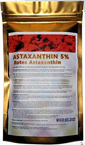 Astaxanthin Pulver Haematococcus Pluvialis 5% 50g Beutel [höchste Qualität,vakuumverpackt, lichtgeschützt, vor Oxidation geschützt] (50g)