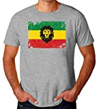 Brenos Design Lion of Judah Rastafari Ethiopia Flag Rasta Camiseta para Hombres XX-Large