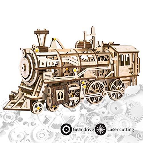 ROKR Maquette Bois Découpe Au Laser 3D Puzzle Locomotive en Bois Modèle D'artisanat avec Mécanique Gear-Meilleurs Jouets pour Garçons et Filles (Locomotive)