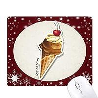 チェリーチョコレートの甘いアイスクリームコーン オフィス用雪ゴムマウスパッド