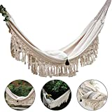 KINJOHI Tops Grand 2 Personnes Hamac Boho Style brésilien en macramé à Franges Deluxe Double Hamac Net Swing Chair Indoor Hanging Swing