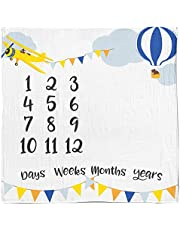 Baby Monthly Milestone Blanket, Soft Fleece Newborn Infant Blanket Large Photo Prop for First Days Weeks Months Year Baby Photography Age Shower Gift for Boys or Girls