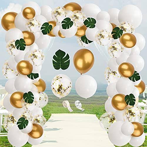 Yisscen Globo de Oro Blanco, 92pcs Selva Fiesta de Cumpleaños Decoracion Globos de Látex Globos de Confeti Hojas de Palmera Kit de guirnaldas con Globos, para Boda Baby Shower decoración de Tropical