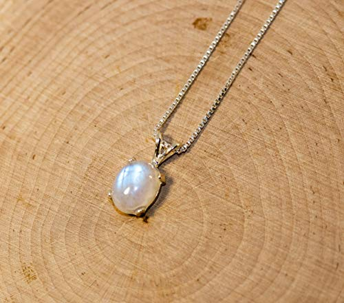 Raw Moonstone Necklace Handmade Jewelry Gift For Her In double chain design June Birthstone Necklace