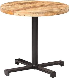 vidaXL Bois de Manguier Brut Table de Bistro Ronde Table de Salle à Manger Table à Dîner Restaurant Café Bar Cuisine Maiso...