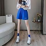 ShSnnwrl Pantalones Cortos de Mujer Shorts Women Fashion Breathable Student All-Match Simple Elastic Waist Letter Korean Style Solid Streetwear