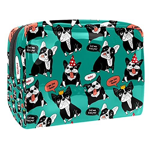 Borsa per cosmetici da viaggio Bulldog francese cane Borse per trucco impermeabili Custodia per trucco portatile multifunzionale per donne Ragazze 18.5x7.5x13cm