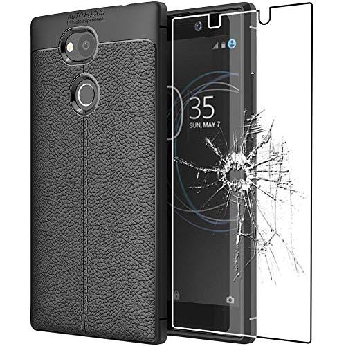 ebestStar - kompatibel mit Sony Xperia L2 Hülle L2 Dual (2018) Lederhülle Design TPU Handyhülle Schutzhülle, Flex Silikon Hülle, Schwarz + Panzerglas Schutzfolie [Phone: 150 x 78 x 9.8mm, 5.5'']