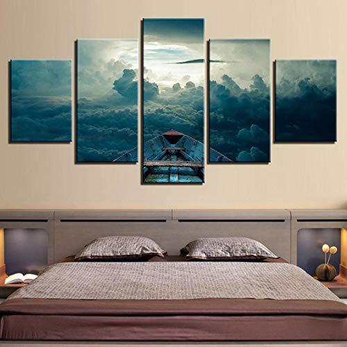 5 Impresiones de Alta definición de Pinturas de Carteles en el Lienzo del Barco/Barco mar/Cielo en Las Nubes, Decoraciones de Arte de Pared para decoración del hogar-Frame_size1