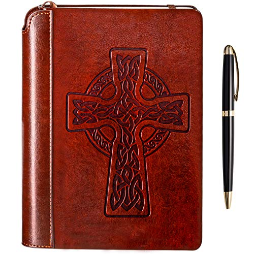 Celtic Cross Writing Journal by Settini, Hardcover Faux Leather Notebook for writers, Travel Journal Lined Personal Diary. Gift Set: brown leather journal with luxury pen.