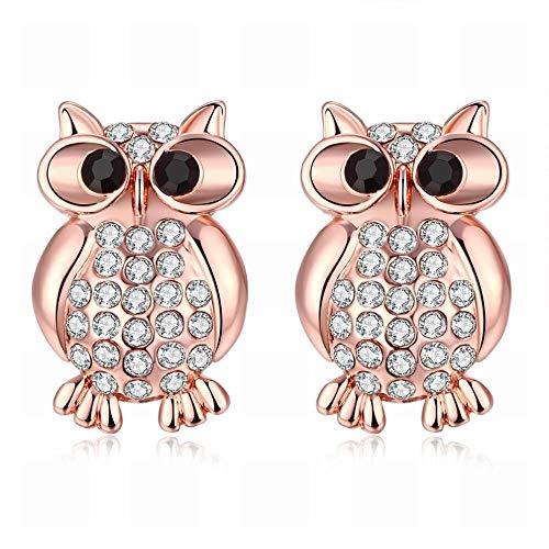 TIANYOU Moda K Personalidad de Oro Lindo Oro Rosa Búho Diamante Damas Pendientes/Hipoalergénico/Plata Brillo/Diamante/Peque?o Y Exquisito sin par/Como se muestra