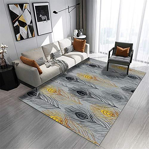 Teppich kinderzimmer Maedchen grau Salon Teppich grau Pfauenfeder Muster Anti-Rutsch-Teppich leicht zu reinigen Wohnzimmer Teppich 50X80CM antirutsch für Teppich 1ft 7.7''X2ft 7.5''