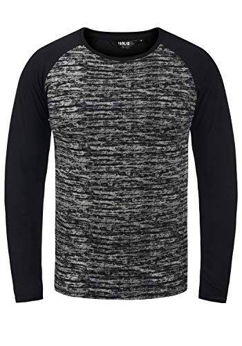 !Solid Mevan Herren Longsleeve Langarmshirt Shirt im Baseball-Look, Größe:XXL, Farbe:Black (9000)