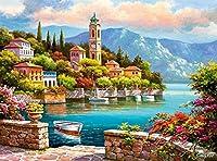 大人のジグソーパズル2000ピースのジグソーパズルファミリーゲームDIYゲームおもちゃ大人のギフト子供とティーンエイジャーのジグソーパズル(美しい海辺の町の風景)