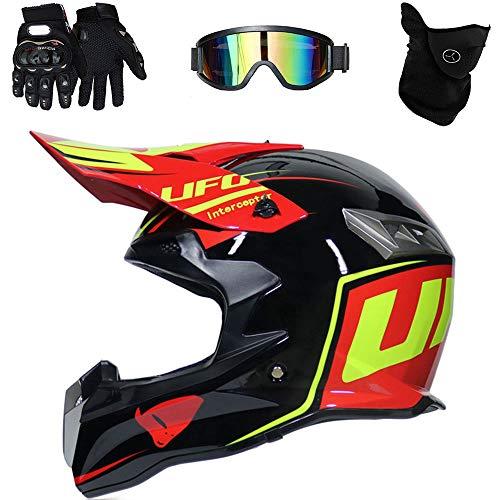 Casco de Motocross Endurance ATV Fibra de Carbono Casco de la certificación D. O. T, Incluyendo Gafas/Guantes/máscara,B,XL(61~62cm)