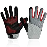 SAVIOR HEAT Workout Gloves, Full Finger Gym Gloves Leather Palm Protection&Strong Grip, for Women Men Breathable Flexible Thin Comfort Gloves for Training,Running,Fitness (Red, Medium)