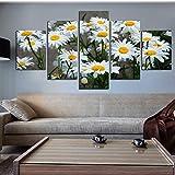 No Cuadro en Lienzo 5 Partes Lienzo Decoración para el hogar Pintura Imágenes HD Impreso Margarita Blanca Girasol Flores Cartel Habitación Arte de la Pared Sin Marco FFFCJYQ