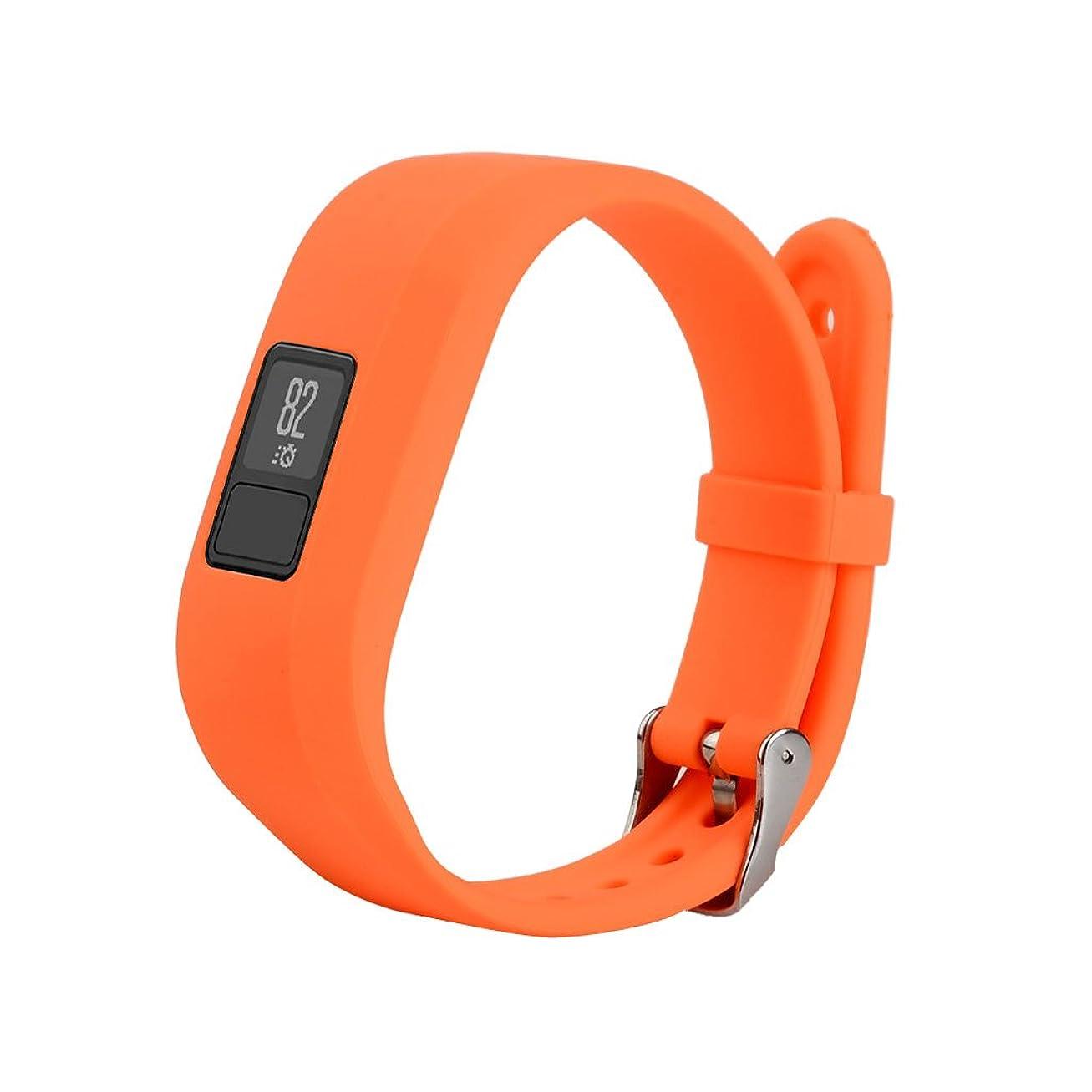 固める汚すつぼみLovoski  軽量 調節可能 シリコン リストバンド 腕時計バンドストラップ バックル付き Garmin Vivofit3 対応 - オレンジ