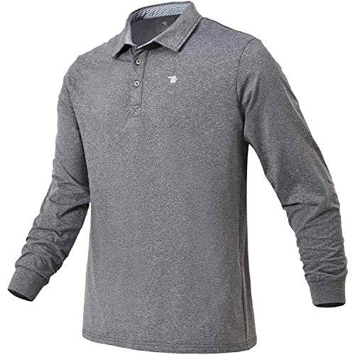 Rdruko Men's Long Sleeve Thermal Polo Golf Shirts Fleece Active Collared Shirts(Dark Grey, US XXL)
